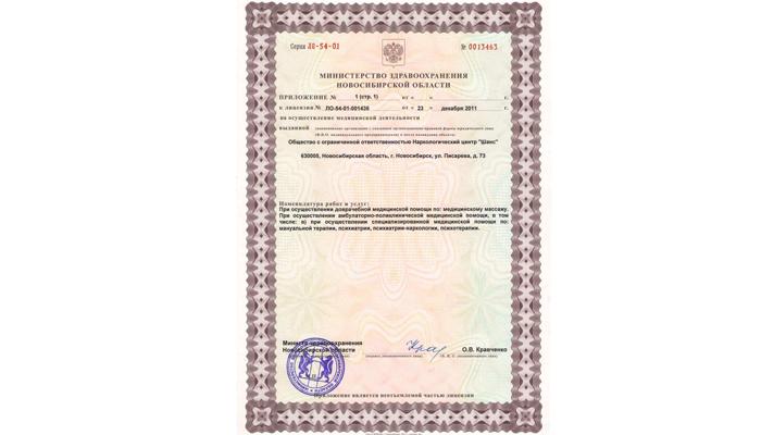 Лицензия учреждения занимающегося реабилитацией зависимых