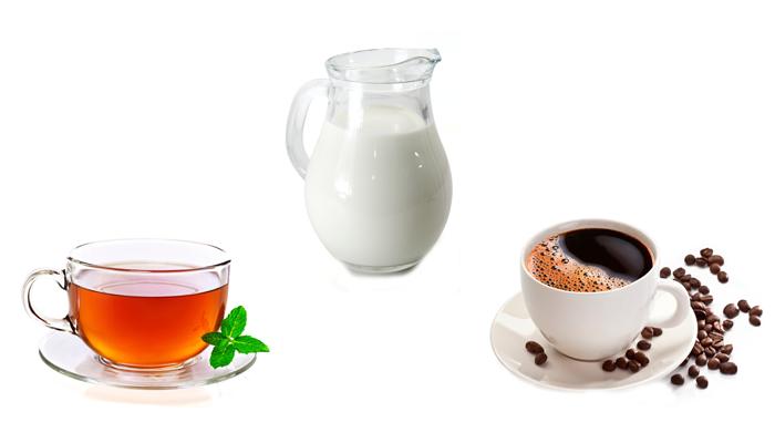 Молоко, черный чай и кофе для устранения похмелья