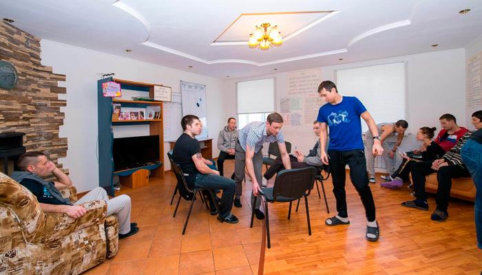 Групповые занятия постояльцев в реабилитационном центре «Инсайт» (Ярославль)