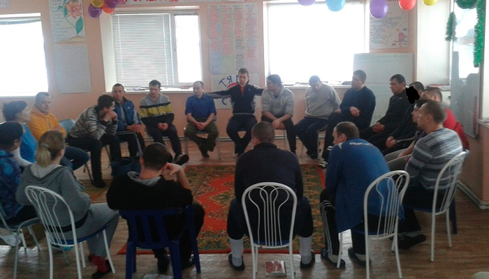 Групповые занятия постояльцев в реабилитационном центре «Мост» (Уфа)