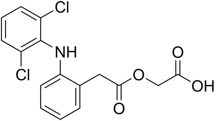 Ацеклофинак - структурная формула действующего вещества препарата Аэртал