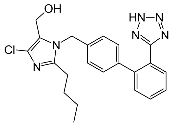 Лозартан - структурная формула действующего вещества препарата Лориста