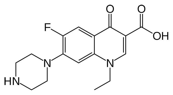 Норфлоксоцин - структурная формула действующего вещества препарата Нолицин