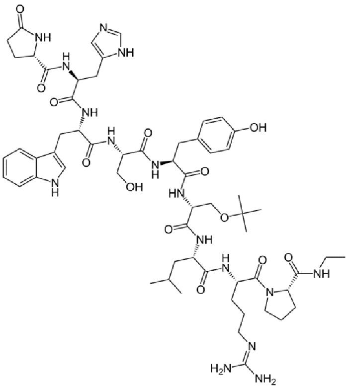 Бусерелина ацетат - структурная формула действующего вещества