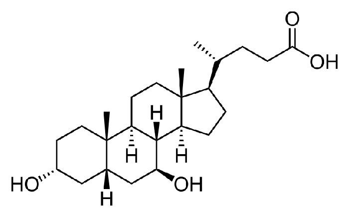 Урсодезоксихолевая кислота - структурная формула действующего вещества