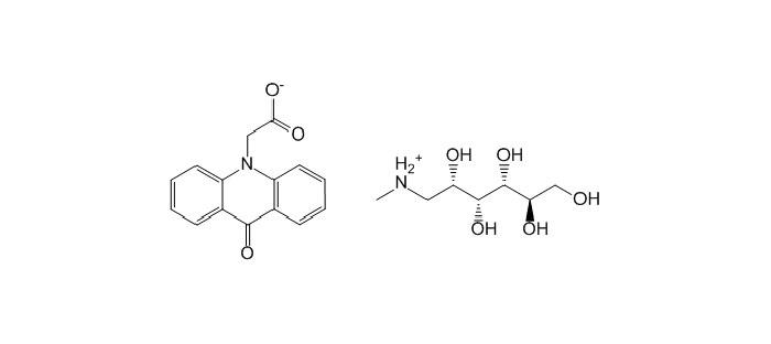 Меглюмин акридонацетат - структурная формула действующего вещества