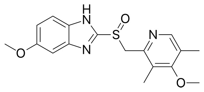 Омепразол - структурная формула действующего вещества