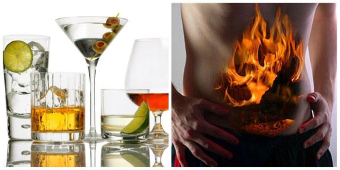 Алкоголь раздражает слизистую желудка, провоцируя выброс соляной кислоты, что приводит к изжоге