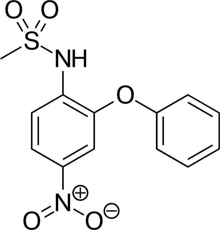 Нимесулид - структурная формула действующего вещества препарата Найз