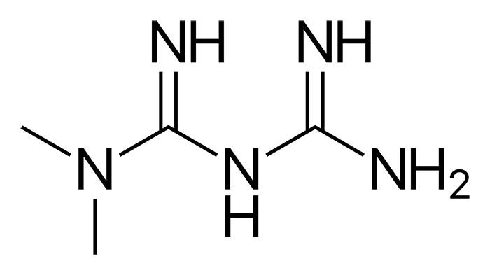 Метформин - структурная формула действующего вещества препарата