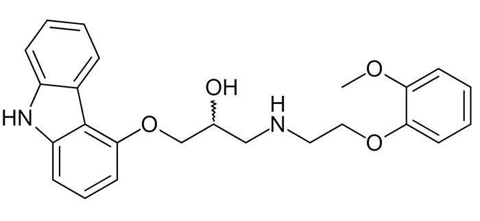 Карведилол - структурная формула действующего вещества препарата