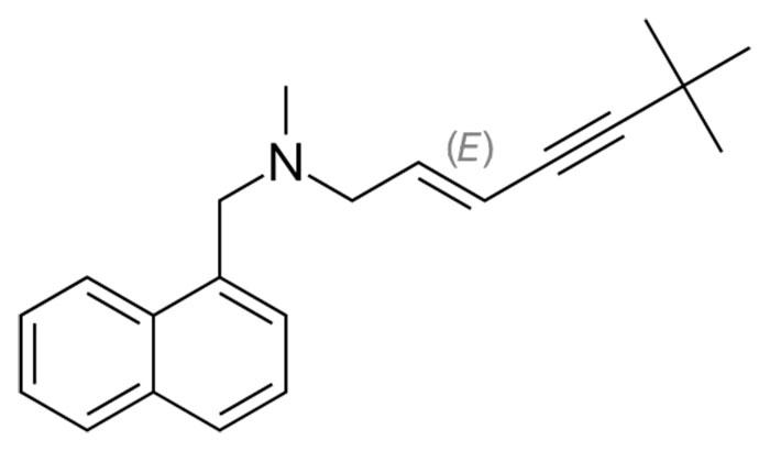 Тербинафина гидрохлорид - структурная формула действующего вещества препарата Тербинафин