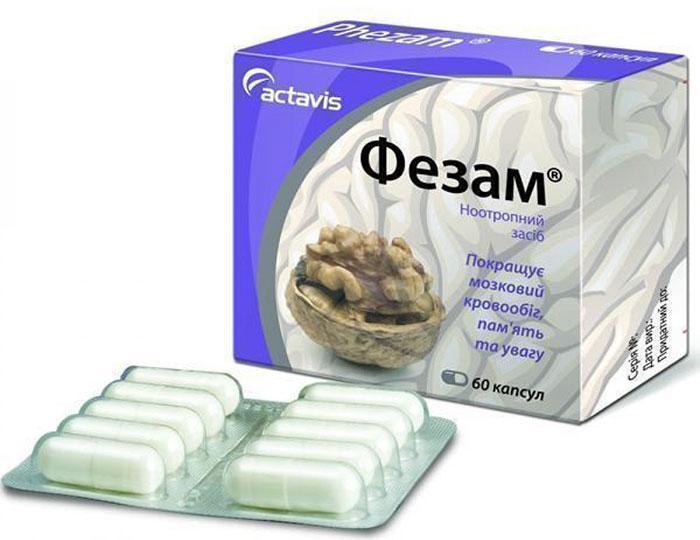 Фезам относится к ноотропным препаратам и обладает положительным воздействием на работу мозга