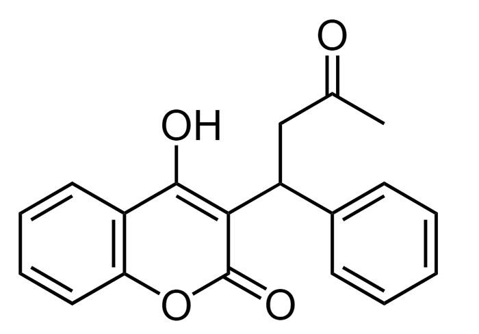 Варфарин - структурная формула действующего вещества препарата