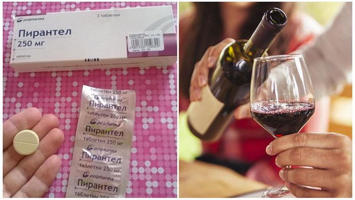 Врачи не рекомендуют совмещать приём препарата Пирантел со спиртными напитками