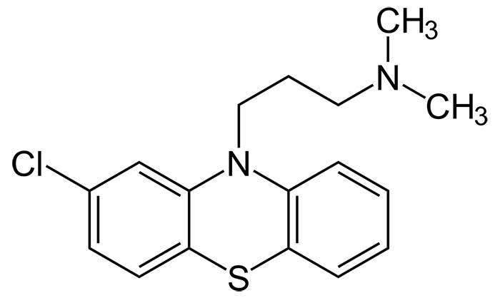 Хлорпромазин - структурная формула действующего вещества препарата Аминазин