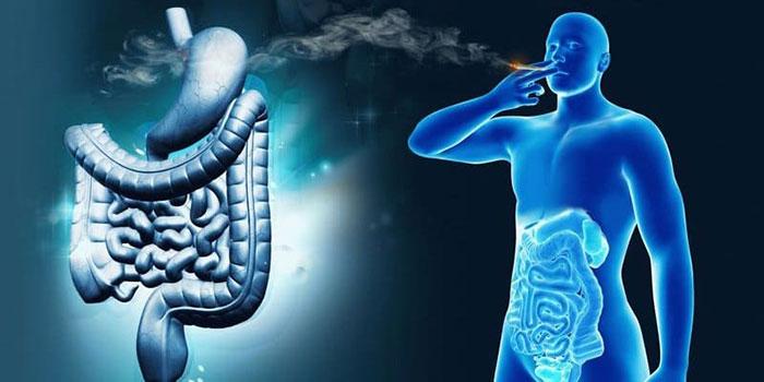 Токсины табачного дыма попадают в пищевую систему со слюной, усугубляя состояние желудка при гастрите