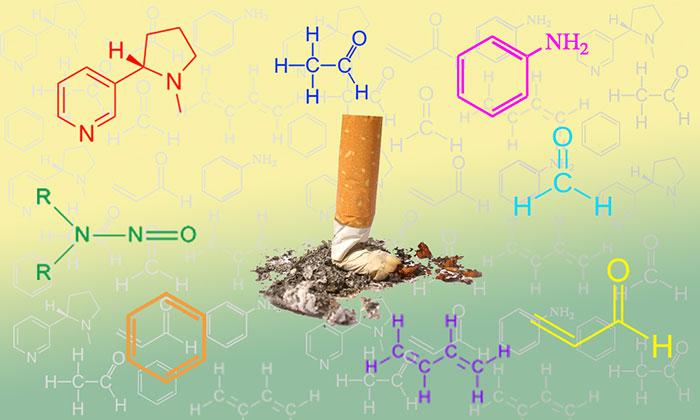Помимо никотина сигаретный дым выделяет множество вредных химических веществ