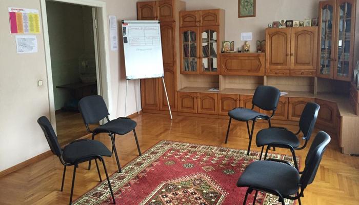Зал для занятий в центре реабилитации Благотворительного Фонда «Остров» (Ясная Поляна)