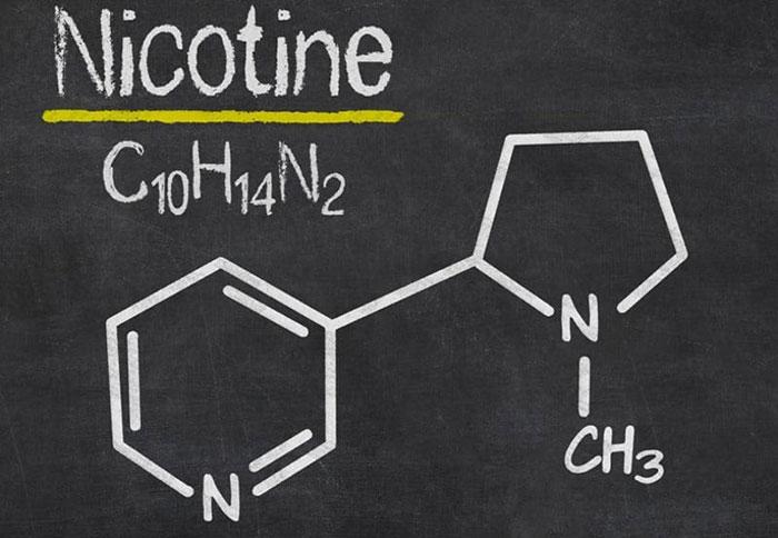 Никотин - структурная формула действующего вещества пластыря Никотинелл