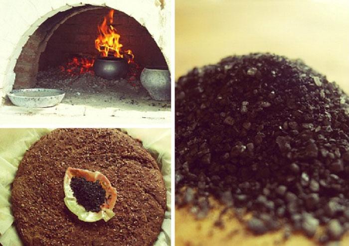 Готовять четверговую соль в печи или духовке, запекая до обугленного состояния