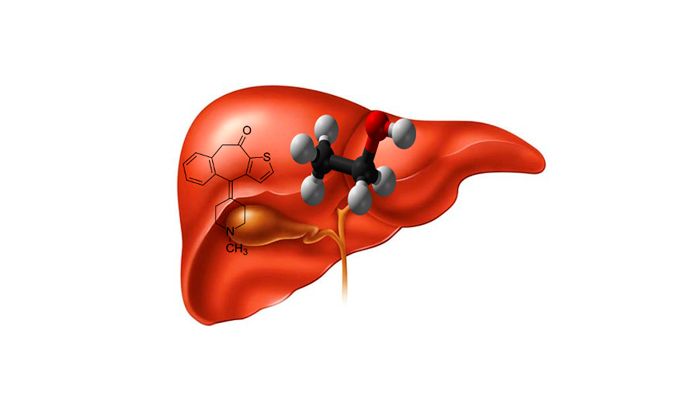 Чрезмерная нагрузка на печень молекулами Кетотифена и этанола