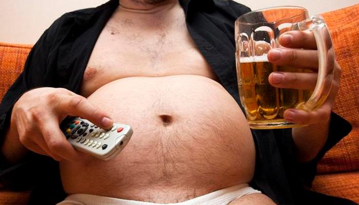 Увеличение массы тела у мужчин в следствии злоупотребления пивом