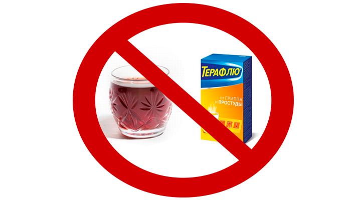 Запрет на совместный прием Терафлю и спиртного