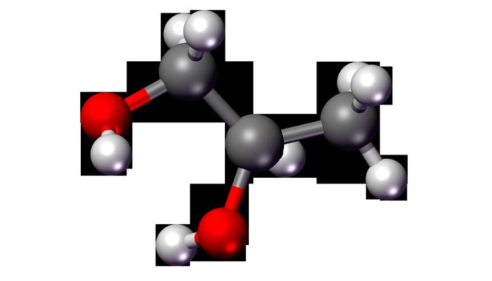 Структурная химическая формула пропиленгликоля