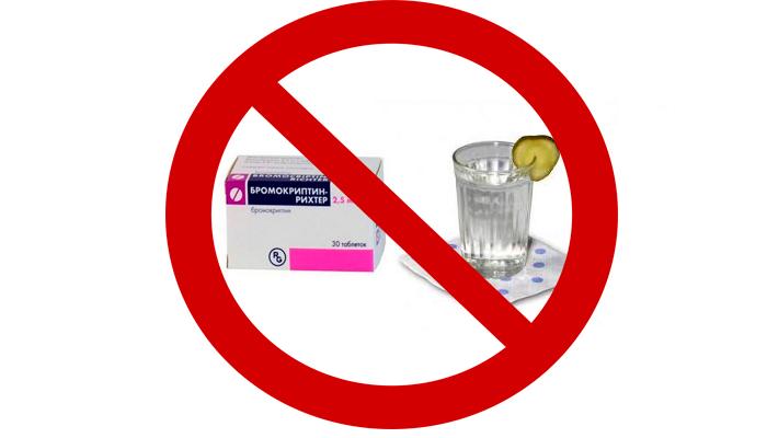 Запрет на смешивание препарата Бромокриптин с алкоголем