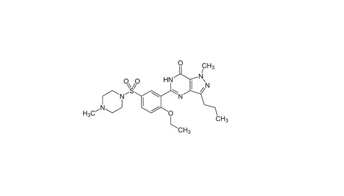 Химическая формула силденафила - действующего вещества препарата Виагра