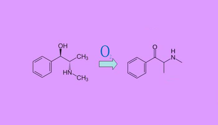 Химическая реакция по превращению эфедрина в эфедрон путем окисления