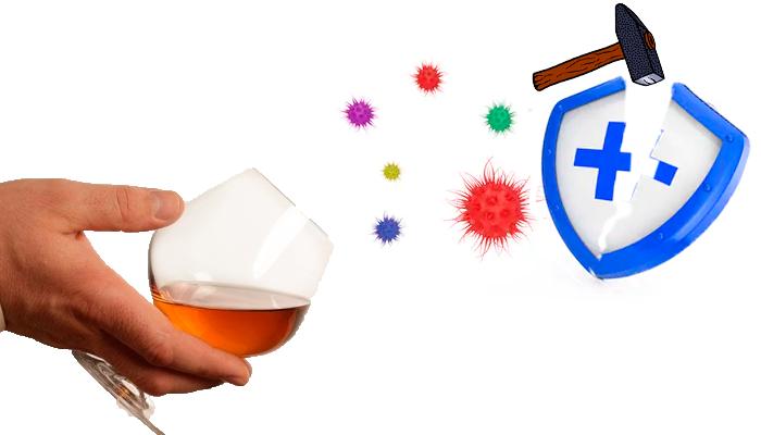 Ослабление иммунитета из-за употребления алкогольных напитков