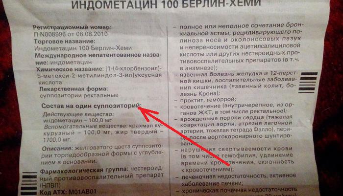 Состав суппозиторий Индометацин