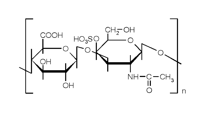 Химическая формула сульфата хондроитина - действующего вещества лекарства Мукосат