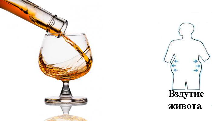 Развитие метеоризма из-за употребления алкогольных напитков